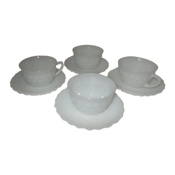 Anchor Hocking Bubble Pattern   milk glass cup and saucer