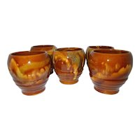Brown drip swirl glazed   pottery mug glasses