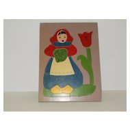 Dutch girl wood inlay puzzle