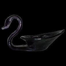 Hand Blown black violet  swirl glass Murrano swan