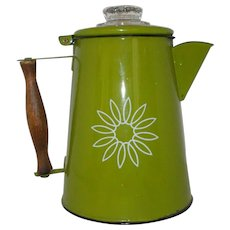 """Vintage enamel green coffee """"Country Cookery"""" pot"""