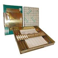 Three brass Bridge score holders set w pencils