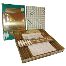 Three brass Bridge score holders set w pencils