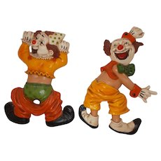 Two Homco   clowning  Clowns  1970  wall hangings