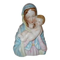 Mary Madonna holding baby Jesus planter marked Japan