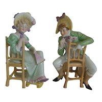 Schneider Porcelain Renaissance dressed man woman  Figurines