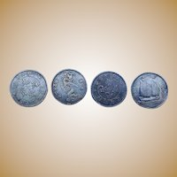 Four Chinese Silver Dollars from old Coin Collection