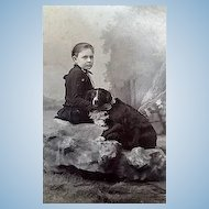 1880 Cabinet Photo of one BIG FAT Dog and Cute Owner Laconia,New Hamphire