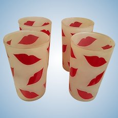 Hotlips Frosted Glass Tumblers from the 1950's Kiss Fans