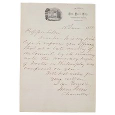 1868 Handwritten Letter from Issac Ferris President of New York University