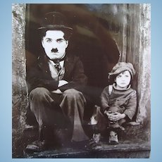 1921 Vintage Photo Charlie Chaplin & Jackie Coogan In The Kid