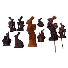 Original 1890's Easter Figurine  Wax Candles Candy Chocolate Molds