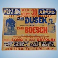 Wrestling Broadside Ernie Dusek vs.Paul Boesch Joe Turner Arena D.C. 1930's