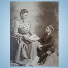 1895 Cabinet Photo of Mother Reading to Son Girard,IL.