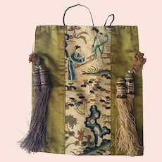 Chinese Qing dynasty Incredible Ladies Silk Embroidered Purse