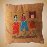 Southern hand embroidered Babies Pillow Clothesline Thieves
