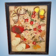 Victorian era Butterfly and Dried Flower Collage