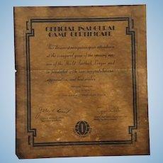 1974 World Football League Game Opener Certificate Memphis Southmen