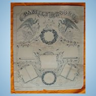 Scarce 1868 Family Record Litho Poster Unused Perfect For Your Family