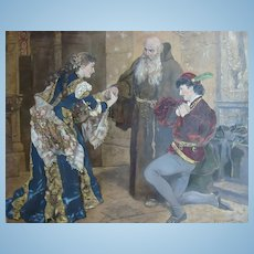 Rare~1882 Hand Painted Chromolithograph Romeo & Juliet
