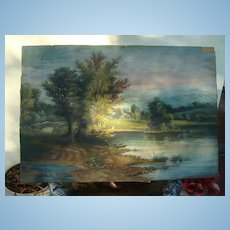 19th century American Oil Painting of Appalachian Farm