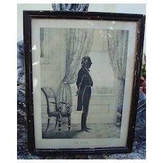 1844 Silhouette of President John Tyler in Original Frame by William Henry Brown