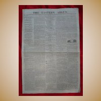Original 1818  Portland,Me Newspaper The Eastern Argus ~Runaway Slaves