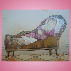 Scarce Salt Print Photo of Post Mortem Girl on Love Sofa