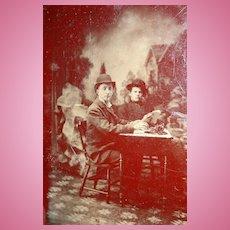RARE Tintype Photo of Rochester, Indiana Telegraph Operator