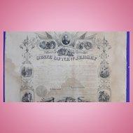 Civil War New Jersey Service Certificate for William C.Dickerson 12th Regiment NJV