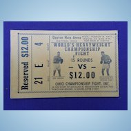 Muhammad Ali & Joe Frazier 1971 Boxing Ticket Hara Arena Dayton,Ohio