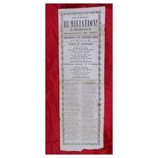 Rare Abraham Lincoln 1861 Civil War Broadside Middletown,Ohio Day of National Humiliation