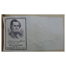 Civil War Patriotic Illustrated Envelope Cover Stephen Douglas for President