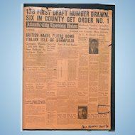 John F.Kennedy is Drafted  Scarce 1940 Draft Notice Newspaper