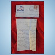 Civil War letter Camp Taylor Cleveland,Oh. w/ Stamped Patriotic Cover William G.Watson