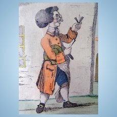 The Village Barber Original 1772 Etching in Museum Frame