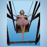 Unique & Superb Folk Art Tramp Art Doll Swing