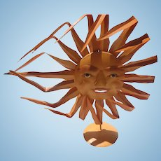 Delightful Vintage Hand Made Sun Metal Art with Stand