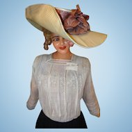 1890's Edwardian Ladies Pompadour Ladies Summer Fashion Hat
