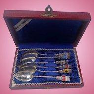 Sterling Silver German Demitasse Spoon Set in Leather Case