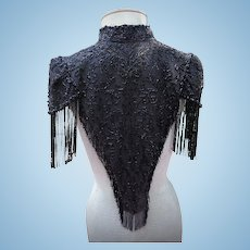 Antique Victorian Gothic Clothes Black Jet Beaded Cape Shawl French