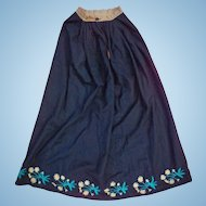 Victorian Black Wool Skirt with Colorful Embroidery