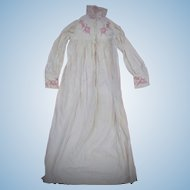 Edwardian era  Night Gown with hand stitched Redwork Embroidery