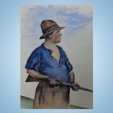 Riveting Watercolor of North Carolina Country Hunter with Rifle signed & dated Humphries 1925