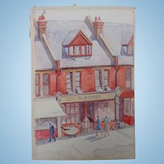 Watercolor Painting of Shops at Upminster England c.1960's