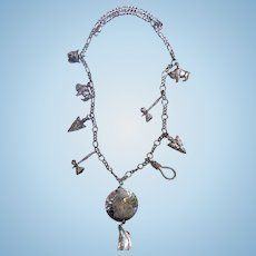 Incredible Southwest Navajo Sterling Charm Necklace