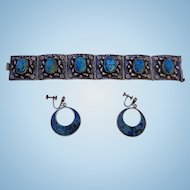 Middle Eastern Turquoise Sterling Set with matching earrings