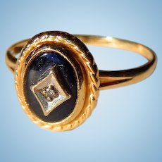 Art Deco Child's 10Kt. Gold Diamond & Black Onyx Ring