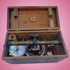 Beautiful Brass Bostrom-Brady Surveying Set in Oak Box