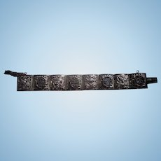 Antique Chinese Export Sterling Silver Handmade Repousse Dragon Phoenix bracelet